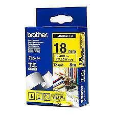 Brother Laminated TZ-345 18mm x 8m -  White printing on Black Tape