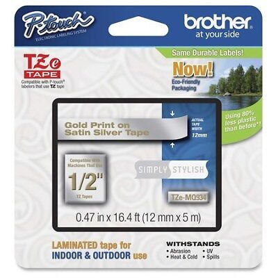 Brother 12mm Gold on Satin Silver Labelling Tape - 8 meters