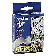 Brother TZeFX231 Flexible Tape Black on White - 12mm x 8 meters