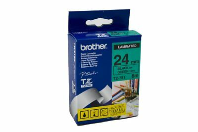 Brother TZe751 Labelling Tape Black on Green- 24mm x 8 meters