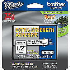 Brother 12mm Labelling Tape, Black on White acid free - 8 meters