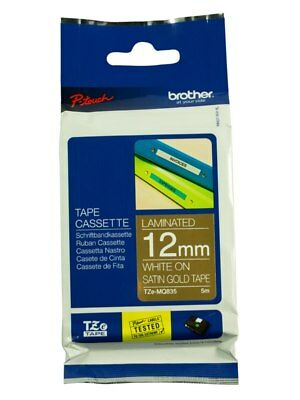 Brother 12mm Label Tape - White on Satin Gold (Deco)