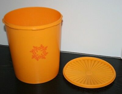 Vintage Tupperware Yellow Orange Flower Canister #1339 Ex Large 25 cups