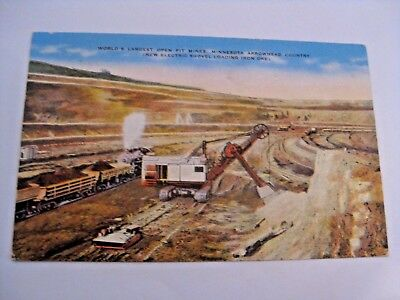 Vintage World's Largest Open Pit Mine Iron Range Minnesota Ore Mining Postcard