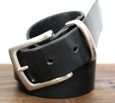 Vintage Thick Black Genuine Leather Silver Tone Buckle Casual Men's Belt 42 (*56