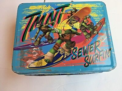 Teenage Mutant Ninja Turtles Sewer Surfin! Tin Lunch Box Licensed Cowabunga!