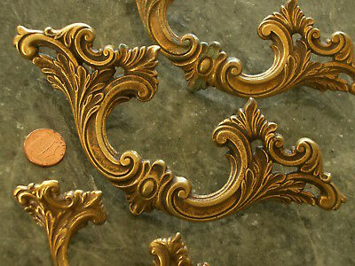 3 Ornate Antique Vtg French Provincial Brass Drawer Pulls Handles