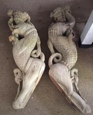 Large Pair Hand Carved Wooden Corbels India elephant/bird