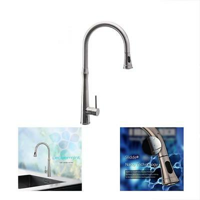 Kitchen Touch On Sink Faucets With Pull Down Sprayer Single Handle Brushed Deck