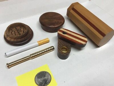 "Wood Dugout Stash Box W/ 4"" Brass  &  Aluminum Bat + 2 "" Grinder  Free USA Ship"