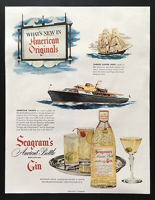 1950 Seagram's Gin American yachts Yankee clipper ship vintage print ad