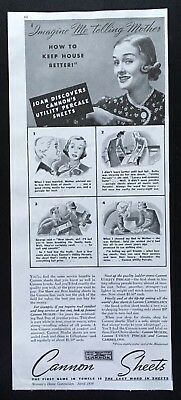 "1938 Cannon Sheets ""Imagine Me Telling Mother"" vintage print ad"
