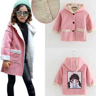 Kids Baby Girl Winter Warm Hooded Long Coat Thick Jacket Cotton-padded Outerwear
