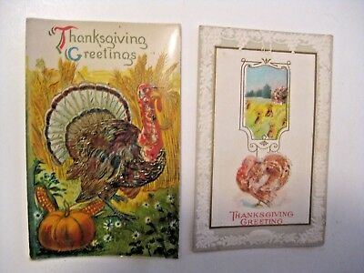 2 Antique Vintage Thanksgiving Holiday Postcards ~ See All Our Postcards