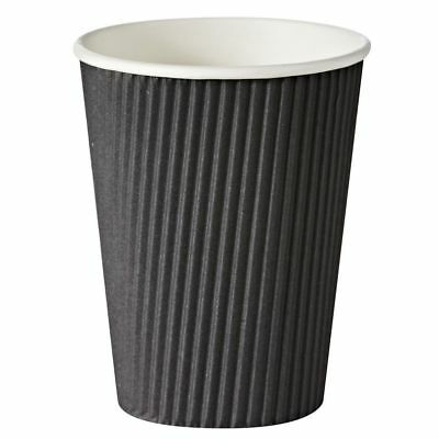 100 x 340ml Medium Disposable Paper Coffee Cups (Corrugated) - Brown