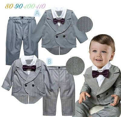 2Pcs Infant Baby Boys Toddler Wedding Tuxedo Outfits Suit Top+Pants Kids Clothes