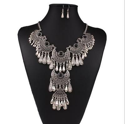 A Set Of Alloy Resin Long Collarbone Chain Necklace & Ear Hook Women Gift DD3631