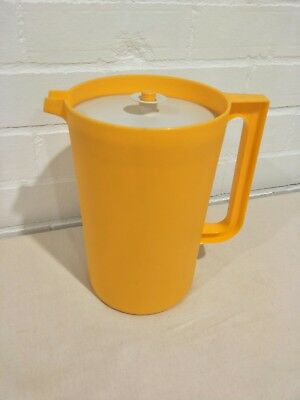Large Vintage Tupperware Jug in Bright Canary Yellow with Press Button Lid Retro