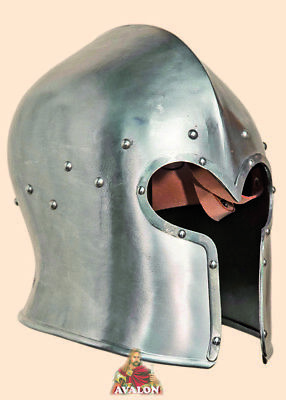 Medieval Visored Barbuta Armour Helmet Greek Roman Barbute With Stand