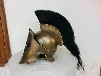 Greek Spartan 300 movie helmet King Leonidas with black plume with wooden stand