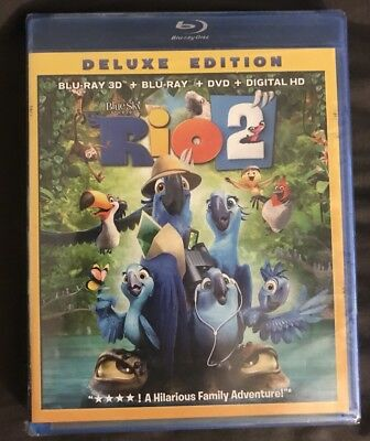 Brand New Rio 2 3D Blu Ray + Blu Ray + Dvd Deluxe Edition Free Shipping