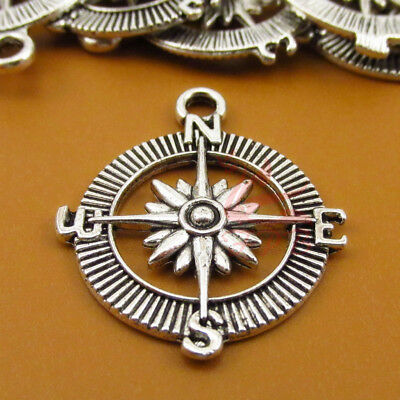 Compass Charms 30mm Antiqued Silver Plated Pendants SC0018557 - 4/15/30PCs