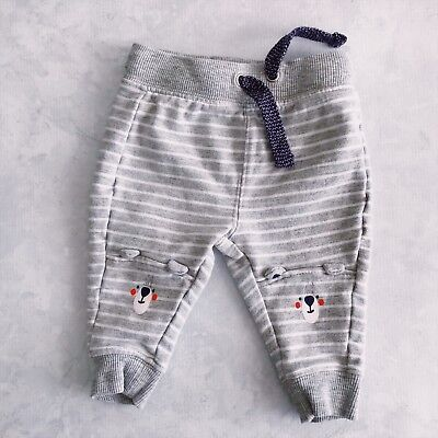 Unisex Grey and White Striped Bear Long Pants for Size 000 (0-3 Months) AS NEW