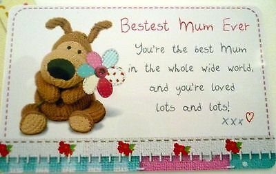 """boofle"" Heart Warmer Keepsake Message Card ""bestest Mum Ever""  Birthday Gift"