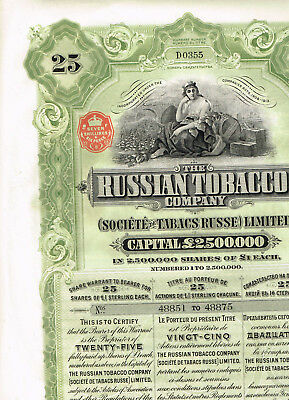 Russian Tobacco Co., 1915, Warrant for 25 shares, beautiful, VF+