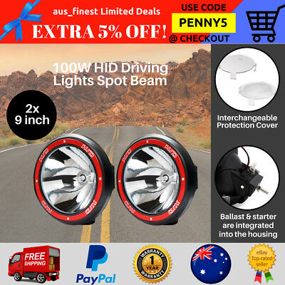 2x 9 inch 100W HID Xenon Spotlights Offroad Driving Lights 4WD Truck 4x4 12V Red