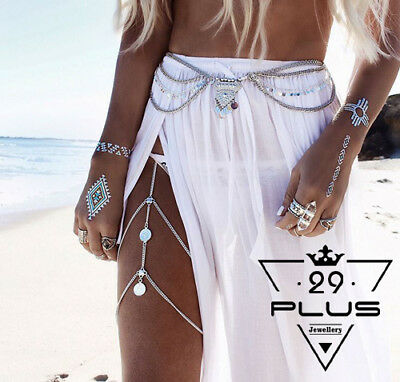 Sexy Boho Women Ethnic Coin Tassel Multilayer Leg Body Chain Beach Jewelry AU