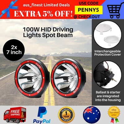 2x 7 inch 100W HID Xenon Spotlights Offroad Driving Lights 4WD Truck 4x4 12V Red