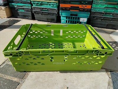 150 x Bail Arm Crates Storage Plastic Boxes Stacking Tray 60-40-20cm