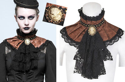 Steampunk Ruff Collar Frill Choker Gothic Victorian Leather Cameo PunkRave Coffe