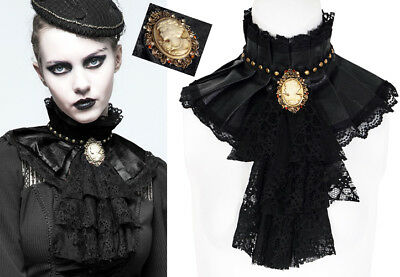 Steampunk Ruff Collar Frill Choker Gothic Victorian Leather Cameo PunkRave Black