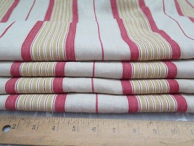 "Antique 19thC French Linen Red & Yellow Ticking Fabric Yardage~2yds20""L X 24""W"