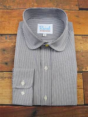 Navy Stripe Club Collar 1930s 40s Vintage Style All Cotton Peaky Shirt Gold Stud