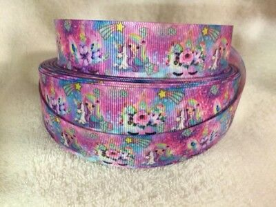 Unicorn Grosgrain Ribbon 3 Meter Length 25mm Hair bows Craft Scrapbooking