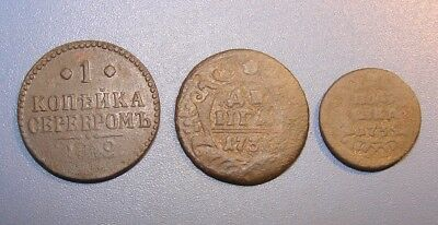 RUSSIAN MONARCHY 1 kopeck  1840, DENGA   1736, POLUSHKA  1734. Copper.ORIGINAL.