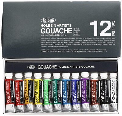 [With Tracking] Holbein Watercolor Painting Artists Gouache Colour 12 SET 5ml