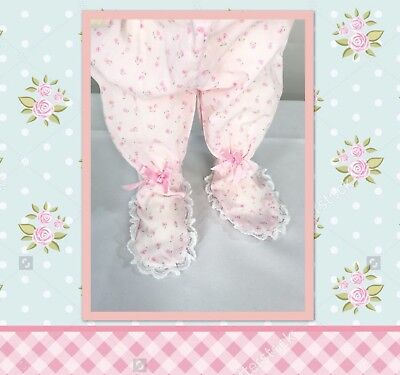 Vintage Tiny Rosette Infant Pajama Bottoms Adorable Lace Feet