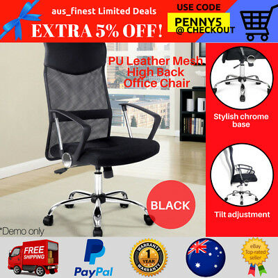 PU Leather Mesh High Back Executive Seats Computer Desk Office Tilt Chairs Black