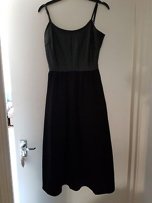 Warehouse Black Midi Dress In Size 10 With Faux Leather Top