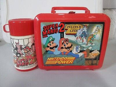 1989 Aladdin Nintendo Power Super Mario II Zelda Plastic Lunchbox with Thermos