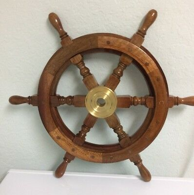 Vintage Wood and Brass Ship Steering Wheel Wall Decoration - 18""