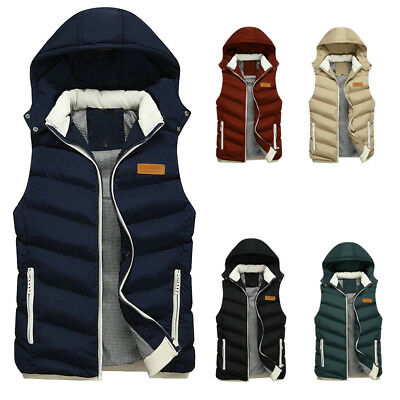 New Winter Mens Hood Quilted Vest Body Warmer Warm Sleeveless Padded Jacket Coat