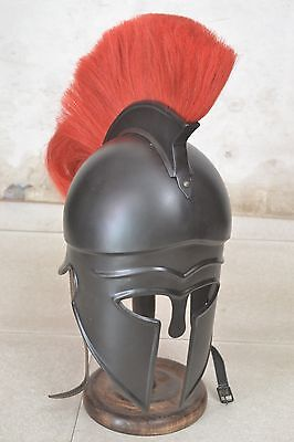 Medieval Greek Corinthian Helmet with RED Plume Spartan gladiator with stand