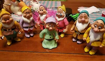 Vintage Set Snow White's  seven Dwarves VINYL Dolls Collectible Figures