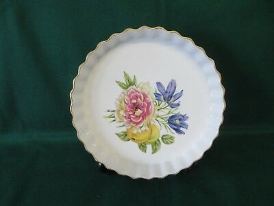 ROYAL WORCESTER PERHORE 9 inch, 22cm RIBBED FLAN DISH IN V G C OND looks unused