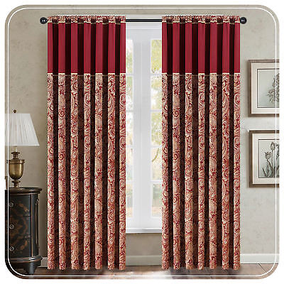 Winter Heavy  Paisley Jacquard  Pencil Pleat Fully Lined Ready Made Curtains